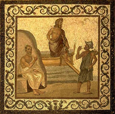 Mosaic on the floor of the Asclepieion of Kos, depicting Hippocrates, with Asklepius in the middle (2nd-3rd century) HSAsclepiusKos retouched.jpg