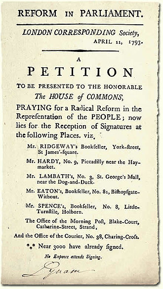 London Corresponding Society - London: London Corresponding Society: Handbill advertising a petition to the House of Commons for Parliamentary Reform