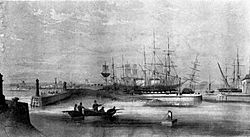 Harbour and Dock, West Hartlepool in 1847.jpg
