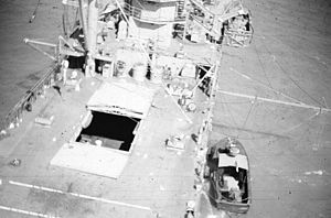 "USS Harnett County (LST-821) - A view of Harnett Countys main deck from a UH-1B helicopter of Navy Helicopter Attack (Light) Squadron Three HA(L)-3 ""Seawolf."""