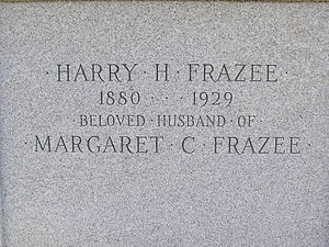 Harry Frazee - The inscription on Harry Frazee's tomb