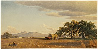 History of San Jose, California - Harvesting near San Jose, California; 1874, John Ross Key.