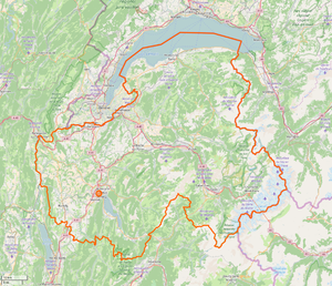 Map of Haute-Savoie, showing parks and roads