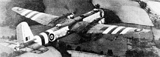 Invasion stripes - A British-captured He 177 German heavy bomber bearing Allied invasion stripes in 1945
