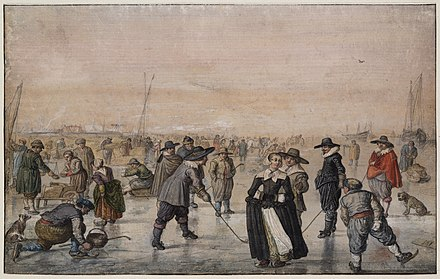 Winter landscape, with skaters playing IJscolf (Hendrick Avercamp, the 17th-century Dutch painter) Avercamp-ijsvermaak.png