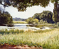 Henri Biva, A river scene in France, oil on canvas, 45.7 x 55.2 cm.jpg