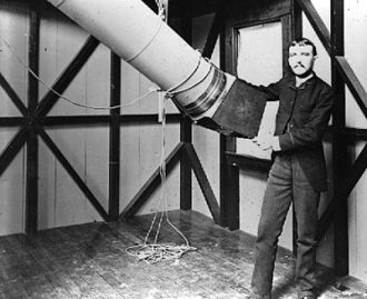 Astrophotography - Henry Draper with a refractor telescope set up for photography (photo probably taken in the 1860s or early 1870).