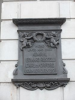 Here lived and died admiral edward russell earl of orford born 1653 died 1727