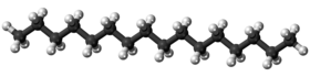 Ball-and-stick model of the hexadecane molecule