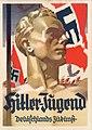 Hitler-Jugend Deutschlands Zukunft Ansichtskarte Postkarte Ludwig Hohlwein Aquarell NSDAP propaganda HJ Fahnen Postcard issued by Deutscher Jugendverlag Hitler Youth Germany's future No known copyright restrictions 3201200095.jpg