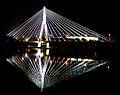 Holy Cross Bridge Warsaw at night.jpg