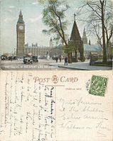 Houses of Parliament and Big Ben, James Henderson postcard, sent 1918 01.jpg