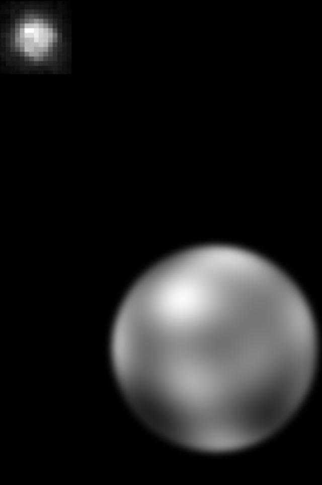 Zwei Mal Pluto, fotografiert 1994 vom Hubble-Weltraumteleskop
