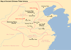 Map of tribes and tribal unions in Ancient China, including the tribes led by Huang Di, Yan Di and Chiyou.