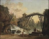 Hubert Robert - Draughtsman Drawing the Wooden Bridge in the Park of Méréville.jpg
