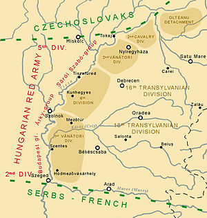 Hungarian–Romanian War - The frontline between the Hungarian and Romanian armies on 3 May 1919.