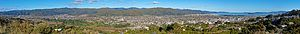 Lower Hutt - Wider view of the Lower Hutt valley. This view shows Wellington in the distance on the extreme right hand side. Past the Lower Hutt CBD in the centre of the photo, and onto Avalon and Taitā on the left-hand side.