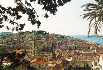 Hvar - A view of the city of Hvar from the Castle