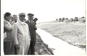 Danube–Black Sea Canal - Ceaușescu (foreground) visiting the canal construction site, summer 1979