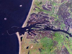 Satellite photo of IJmuiden and Velsen area