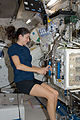 ISS-20 Nicole Stott works with the Mice Drawer System (MDS) in the Kibo lab.jpg