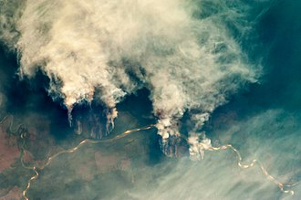 Slash-and-burn - This satellite photograph illustrates slash-and-burn forest clearing along the Rio Xingu (Xingu River) in the state of Mato Grosso, Brazil.