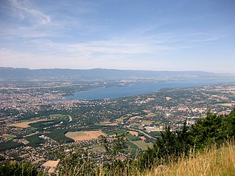 Veyrier - View from Le Salève down to Veyrier and surrounds communities around Lake Geneva