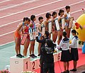 Ikiiki Ibaraki Yume Kokutai Athletics, Girls B 100mH, award ceremony.jpg