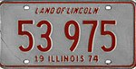 Illinois 1974 license plate - Number 53 975.jpg