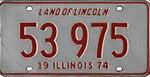Illinois 1974 license plate - Number 53 975.jpg