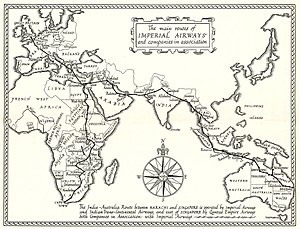 Imperial Airways - April 1935 map showing Imperial Airways' routes to Australia and South Africa