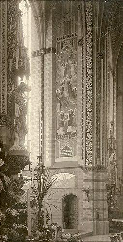 Interieur Sint-Willibrorduskerk Deurne-centrum priesterkoor zuidzijde 1901.jpg