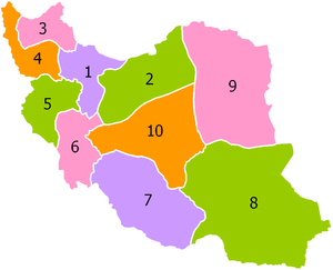 Regions of Iran - Map of provinces of Iran, 1937-1960