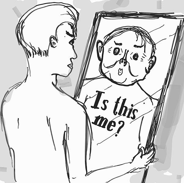 """File:Is this me mental disorder of looking.jpg Description English: An illustration how an unidentified gender person looking in the mirror with the word """"Is this me?"""", probably to illustrate """"body dysmorphic disorder"""" or depersonalization disorder."""
