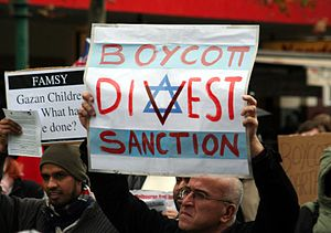 Boycott, Divestment and Sanctions - BDS protest in Melbourne, Australia against Israel's Gaza Blockade and attack on humanitarian flotilla in 2010.