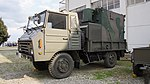 JGSDF Type 73 chugata truck(07-5229) with shelter of JMMQ-M4 Aeronautical Meteorological Observation unit left front view at Camp Akeno November 4, 2017 01.jpg