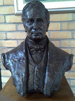 Fairbairn College - Bust of John Fairbairn in hall foyer