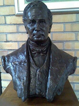 Fairbairn College - Bust of John Fairbairn in hall foyer