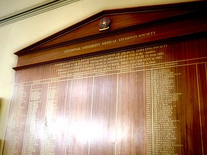 Liverpool Medical Students Society - The LMSS Officer Board depicting the names of all Officers and Hon. Presidents of the Society in the Victoria Gallery & Museum at the University of Liverpool
