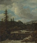 Jacob van Ruisdael - Landscape with a Waterfall near a Castle.jpg