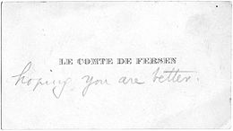 Carte De Visite Au Nom Du Comte Fersen Sans Adresse Une Pratique Alors Rpandue Paris 1905
