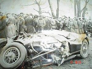 Joe Kelly (racing driver) - Joe Kelly's Jaguar after his crash at Oulton Park