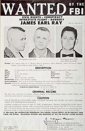 James Earl Ray - F.B.I. most wanted fugitive poster of James Earl Ray