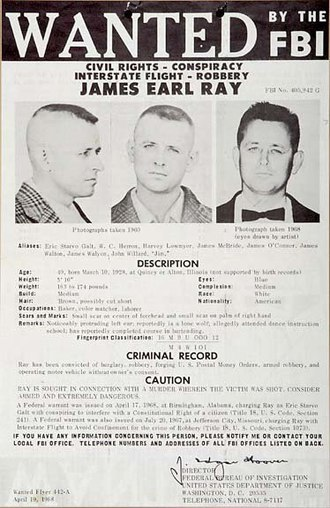 James Earl Ray - FBI most wanted fugitive poster of James Earl Ray