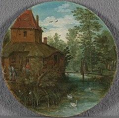 Landschaft (Gehöft am Bach) (Werkstatt)