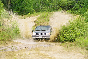 Off-roading - One example of an off-road SUV, in this case a Jeep Grand Cherokee, in action
