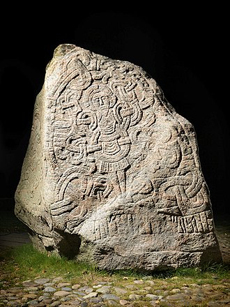 Monarchy of Denmark - One of the two Jelling stones, attesting to Harald Bluetooth's unification and Christianization of Denmark.