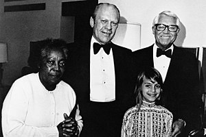 Jennifer Grant - Jennifer and Cary Grant, Gerald Ford (top center), maid Willie in 1976 at the Century Plaza Hotel President's Suite, Los Angeles.