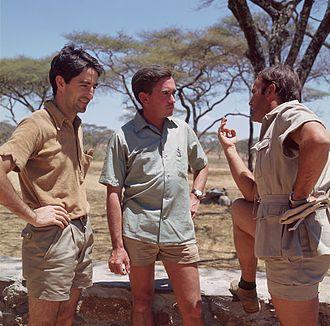 Jesús Mosterín - Jesús Mosterín, Hugo van Lawick and Félix Rodríguez de la Fuente in Africa in 1969