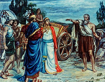 English: Jezabel and Ahab Meeting Elijah in Na...